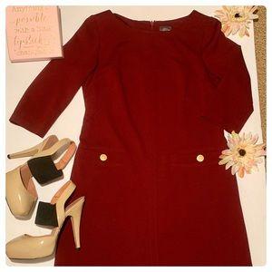 Vince Camuto Button Pocket Dress Sz 6, Burgandy